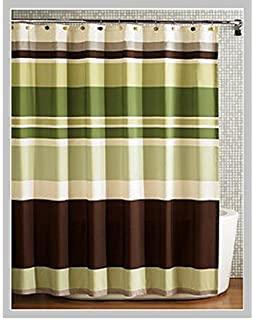Spring Home Fabric Shower Curtainmulti Color Printed Striped Green Coffee