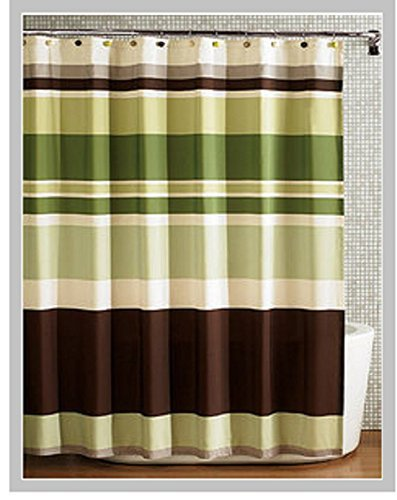 Fabric Shower Curtain,multi Color Printed Striped Green Coffee