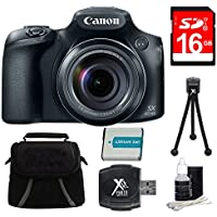 Canon PowerShot SX60 HS Digital Camera 16GB Premiere Bundle - Includes Camera, 16GB SDHC/SDXC Memory Card, Compact Deluxe Gadget Bag, Battery, Hi-Speed SD USB 2.0 Card Reader, 5 Mini Tripod and More