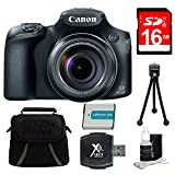 Canon PowerShot SX60 HS Digital Camera 16GB Premiere Bundle - Includes Camera, 16GB SDHC/SDXC Memory Card, Compact Deluxe Gadget Bag, Battery, Hi-Speed SD USB 2.0 Card Reader, 5'' Mini Tripod and More