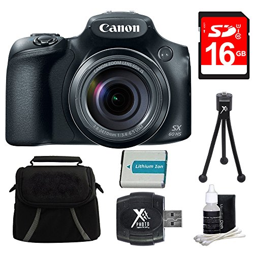 Canon PowerShot SX60 HS Digital Camera 16GB Premiere Bundle - Includes Camera, 16GB SDHC/SDXC Memory Card, Compact Deluxe Gadget Bag, Battery, Hi-Speed SD USB 2.0 Card Reader, 5'' Mini Tripod and More by Canon