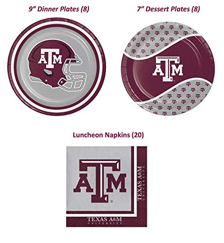 Texas A&M Celebration or Tailgate Party Supply Pack! Bundle Includes Paper Plates & Napkins for 8 Guests