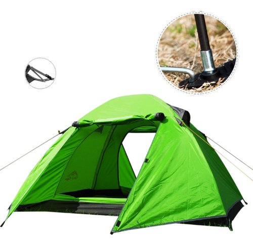 Modovo 2-Person Dual-layer Camping Tent Rainproof Double Skylight (1.64'+4.59'+1.64')x6.89'x4.1' Green