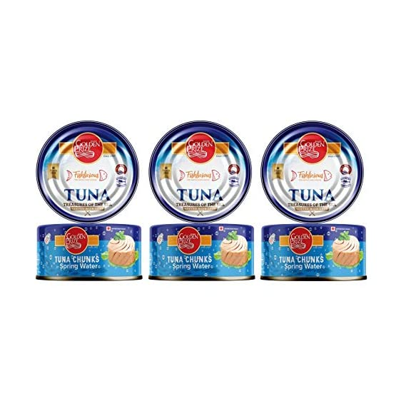 Golden Prize Tuna Chunk in Spring Water 185Gms Each - Pack of 3 Units