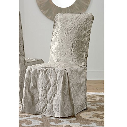 (Sure Fit Matelasse Damask Dining Room Chair Cover-Linen)