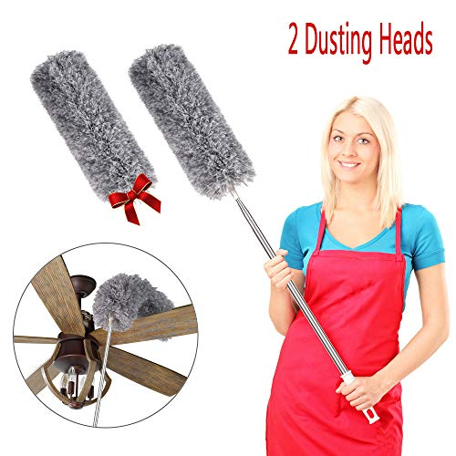 Ceiling Fan Duster, 2 Bendable Head Microfiber Duster with Extension Pole(Stainless Steel), Extra Long 95 inches, Extendable Duster for Cleaning High Ceiling, Blinds, Furniture