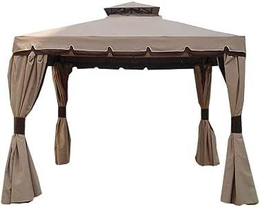 Cipro MO455 - Cenador de 3 x 3 m con cortinas laterales, impermeables, incluidas: Amazon.es: Jardín