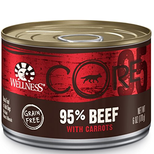 Wellness CORE 95% Natural Wet Grain Free Canned Dog Food, Beef & Carrots, 6-Ounce Can (Pack of 24) (Wellness Core Dog Food Canned compare prices)