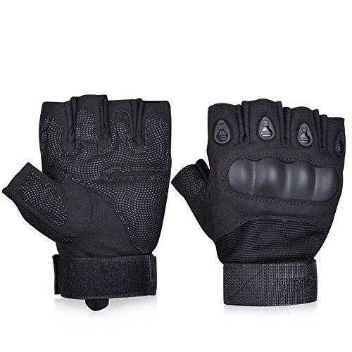 Vbiger Tactical Gloves Military Gloves Shooting Gloves Fingerless Half-finger Riding Hunting Cycling Gloves (Black2, M)