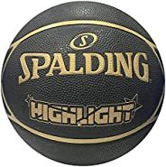 Spalding Highlight Black/Gold Rubber Outdoor Basketball, Size 7 (29.5&q