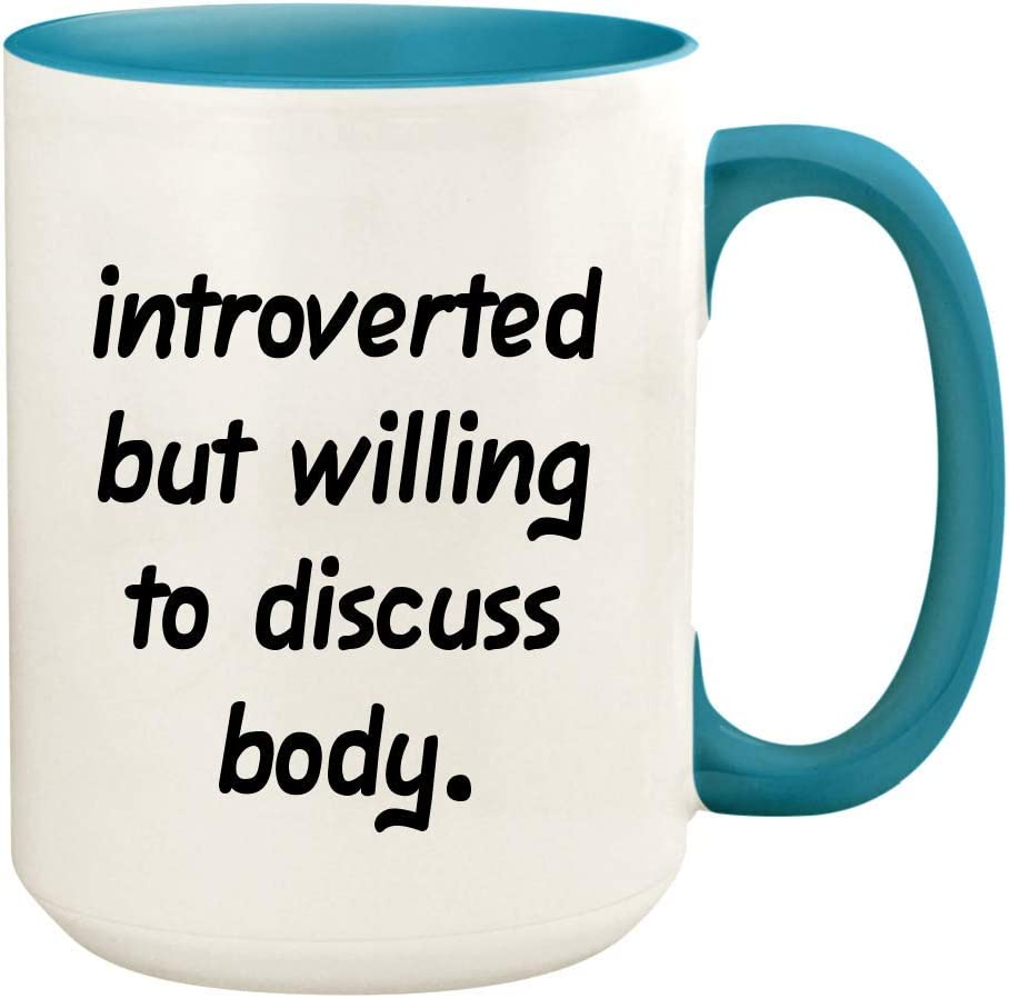 Introverted But Willing To Discuss Body - 15oz Ceramic White Coffee Mug Cup, Light Blue