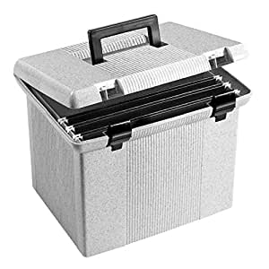 "Oxford Portfile Large Portable File Box, Granite, 11""H x 14"" W x 11-1/8"" D (41747)"