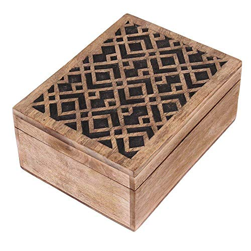 Thanksgiving Jewelry Box Keepsake Trinket Storage Box Rustic Wooden Organizer with Hand Carved Geometric Pattern ()