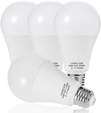 23 W (200 W) Bombilla LED E27, LOHAS No Regulable rosca Edison bombillas de luz, 2500 lúmenes, Blanco Calído 2700K, 240 ° ángulo de haz, Bombilla de