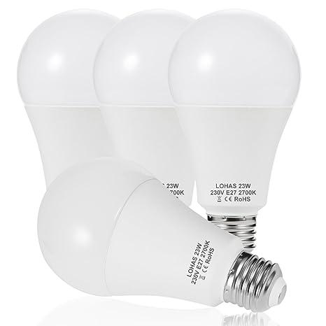 23 W (200 W) Bombilla LED E27, LOHAS No-Regulable rosca Edison bombillas de luz, 2500 lúmenes, Blanco Calído 2700K, 240 ° ángulo de haz, Bombilla de ...