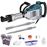 Yescom 3600W 1800BPM Electric Demolition Jack Hammer with Double Insulated Motor Casing 2 Chisels Case