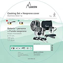 Laken Stainless Steel Mess Kit Camping Cooking Set with Neoprene Cover and Cup