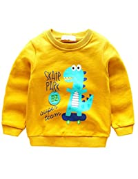 Vividda Kids Boys Dinosaur Long Sleeve Cotton T-shirt Cartoon Sweatshirt Pullover