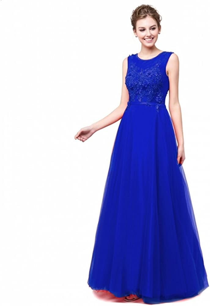 MZMSRHS Womens Tulle Backless Formal Gowns Bridesmaid Evening Dresses