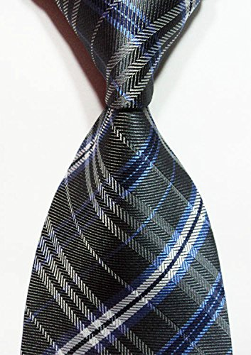 Scott Alain Creation - Neckties Classic Grey with Blue Checked Plaid 100% New Jacquard Woven Silk Men's Tie Necktie