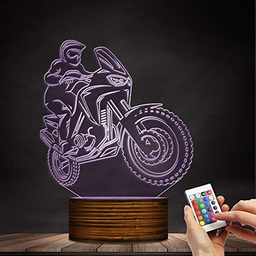 Novelty Lamp, 3D LED Lamp Optical Illusion Motorcyclist Night Light, USB Powered Remote Control Changes The Color of The Light Birthday Gift Decoration Baby Boy Girl Child,Ambient Light by LIX-XYD (Image #6)