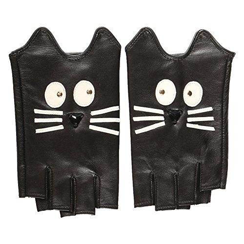 Magelier Women's Fun Cartoon Kitty Cat Halloween Costume Fingerless Genuine Lambskin Leather Novelty (Golf Halloween Costumes)