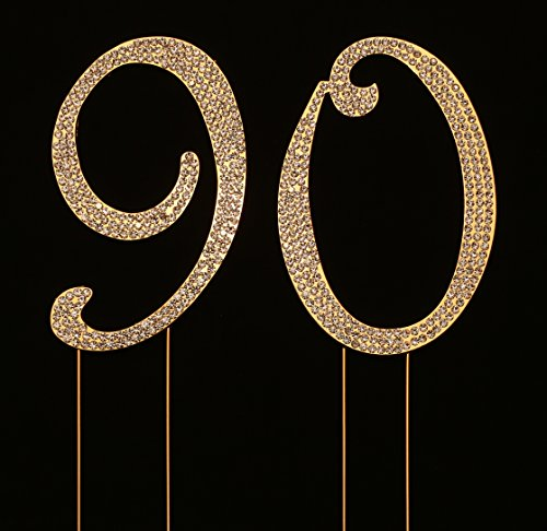 Numbrer 90 for 90th Birthday or Anniversary Cake Topper Party Decoration Supplies, Gold, 4.5 Inches Tall