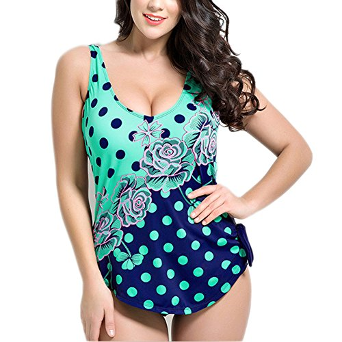 Missyhot Traje de Baño para Gorditas Mujeres Bañador Retro de Una Pieza de Lunares Monokini Bikini Telas Estampados Azul Verde Blanco Verde