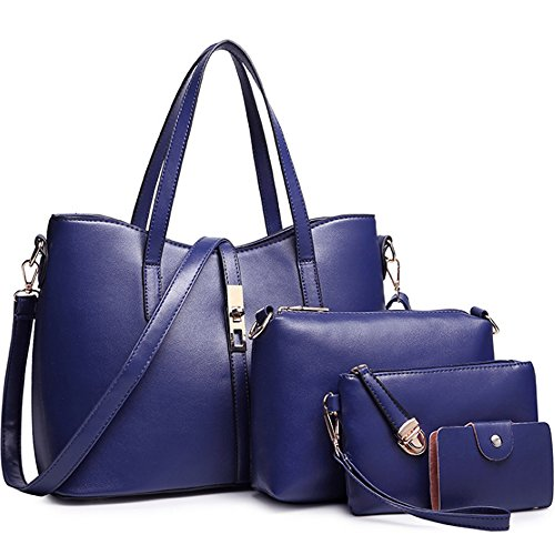 a e Borsa Set Spalla Pochette Blu Handbag Borse FiveloveTwo Clutch Borsa a Zainetto Borsetta 4pezzi Borse carte Tote Donne Mano Tracolla Tote Scuro Porta tracolla w7xROqUx