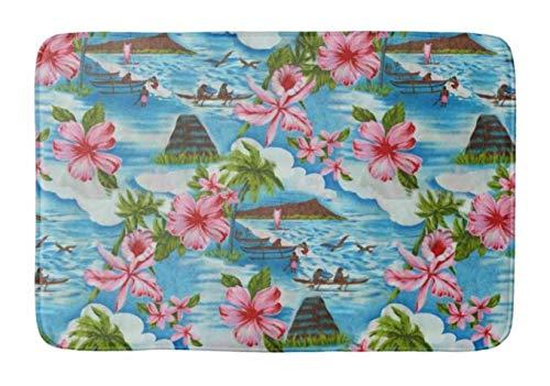 Yesstd Hawaiian Scenes Absorbent Super Cozy Bathroom Rug Doormat Welcome Mat Indoor/Outdoor Bath Floor Rug Decor Art Print with Non Slip Backing 24