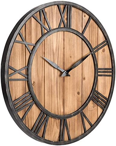 Upuptop Farm House Metal Solid Wood Wall Clock Kitchen Wall Clock Rustic Barn Vintage Bronze