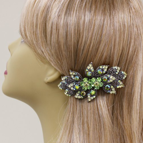 DoubleAccent Hair Jewelry Large Simulated Crystal Bouquet Barrette, Green