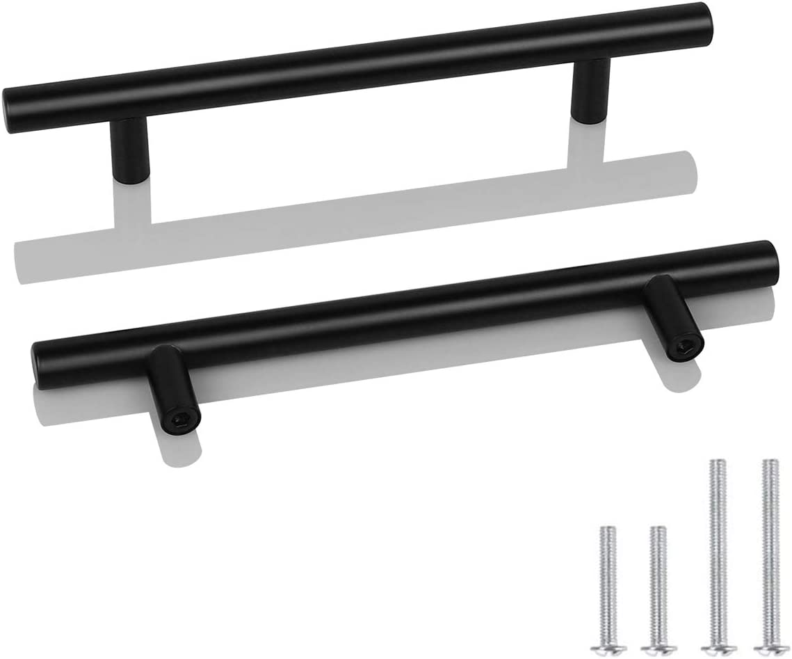 30 Pack Probrico Black Stainless Steel Kitchen Cabinet Door Handles T Bar Drawer Pulls Knobs Diameter 1 2 Inch Hole Centers 5inch 7 1 2inch Length Amazon Com
