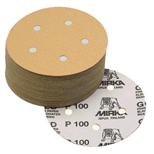 Mirka 23-614-AP 5'' 5-Hole Assorted Grits (10 Each Of 80/100/120/150/220) Dustless Hook & Loop Sanding Discs