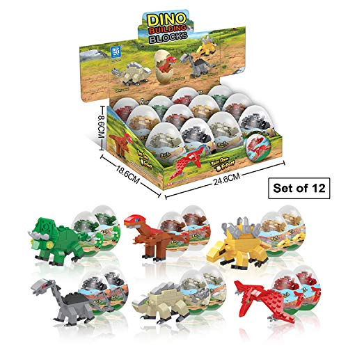 Smartstoy Dinosaur Toys for Boys and Girls 6 Years Old & Up - 12 Dino Eggs with Mini Animals Building Blocks for Kids, Pack of 12 - Education & Fun Gift for Birthday, Dinosaurs Party Favors