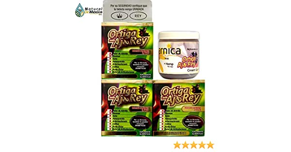 Amazon.com: 1 Arnica Reforzada con OrtigaAjoRey y 3 cajas de OrtigaAjoRey with Omega 3, 5 and 9 Dietary Supplement Original: Health & Personal Care