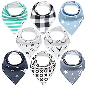 KiddyStar Bandana Baby Bib Set, 8-Pack Drool Bibs for Boys and Girls, Baby Shower Gift for Newborns, 100% Organic Cotton, Soft and Absorbent, Stylish and Unisex, For Drooling and Teething