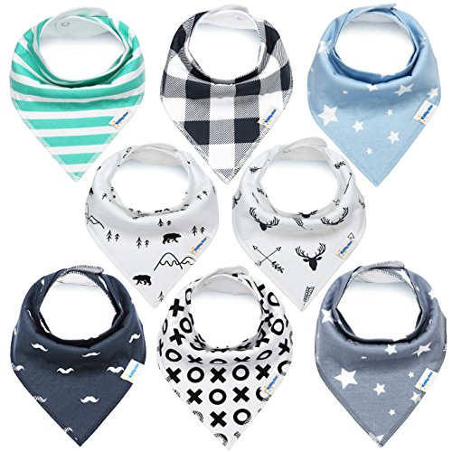[KiddyStar Bandana Baby Bib Set, 8-Pack Drool Bibs for Boys and Girls, Baby Shower Gift for Newborns, 100% Organic Cotton, Soft and Absorbent, Stylish and Unisex, For Drooling and] (Baby Designer Clothes)