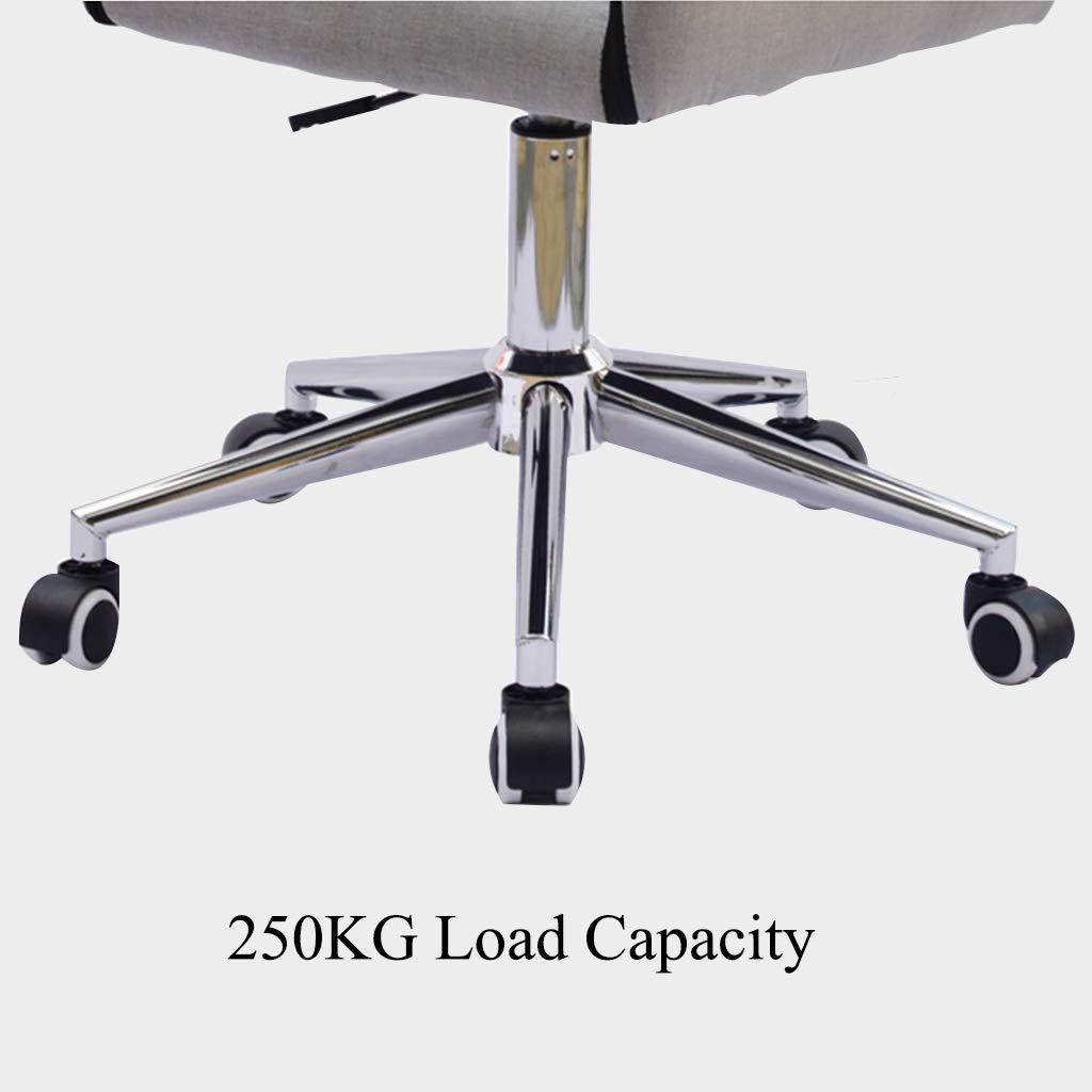 YLMF Hem kontor skrivbordsstol ergonomisk svängbar kontorsstol höjd justerbar femstjärniga stålfötter mode kontorsstol PU rullskridskoåkning tyst material Grått