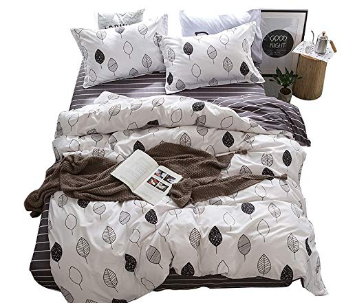 Price comparison product image ZHIMIAN Reversible 3 Piece Brief Drawing Leaves Floral Duvet Cover Set with Zipper Closure(1 Duvet Cover + 1 Pillow Shams),120GSM,Ultra Soft(Twin,Leaves)