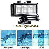 UTEBIT Diving Light for Gopro Hero 5 4 3 + 3 2 1, 40M Underwater 3 LED Video Light Fill Night Light Video Studio Photo Lamp