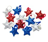 U-B Sparkling Stars Red White and Blue Holiday Charms, Compatible with Rubber Band Loom Bracelets (12 Charms)