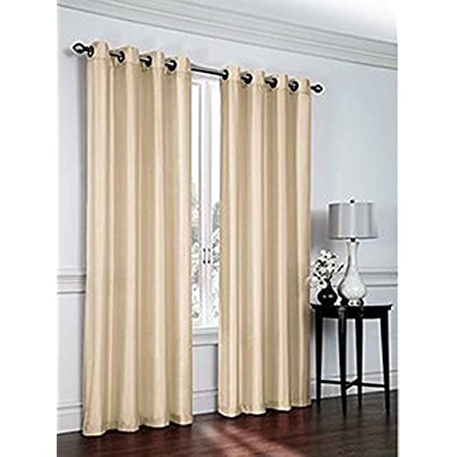 Curtain Panels Set Of 2 Window Curtains 38x84 Taupe Faux Silk Panel By United Linens