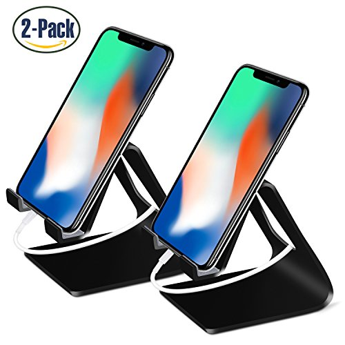 Pack iPhone Stand Desktop Cradle Holder Dock for Tablet Nintendo Switch Android Smartphone iPhone 8 X 7 6 6s Plus SE 5 5s 5c iPad mini, Made by Fynix (Black) (Digital Pixel Watch)