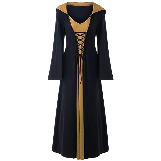 Dwevkeful Vestido Victoriano Mujer Largo Vintage con Capucha ...