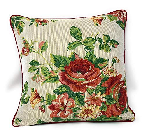 Tache Sweet Roses Spring Summer Traditional Country Vintage White Red Floral Decorative Woven Tapestry Cushion Throw Pillow Cover, 16 x 16, 1 Piece