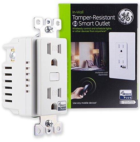 GE Z-Wave Plus Smart Lighting and Appliance Control Receptacle Outlet, On/Off, Tamper Resistant, 1 Always On / 1 Controllable Outlet, Zwave Hub Required- Works with SmartThings Wink and Alexa, 14288