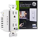 GE Z-Wave Plus Smart Lighting and Appliance Control Receptacle Outlet, On/Off, Tamper Resistant, 1 Always On/1 Controllable Outlet, Zwave Hub Required- Works with SmartThings Wink and Alexa, 14288