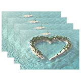 WIHVE Placemats Wipeable Dining Beach Ocean Hawaii Love Heart Table Mat Rectangle Polyester Washable Insulation Non-slip Kitchen Placemat Set of 6