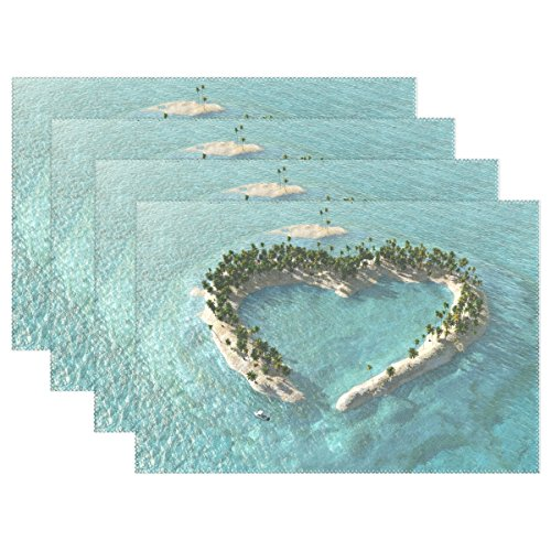 WIHVE Placemats Wipeable Dining Beach Ocean Hawaii Love Heart Table Mat Rectangle Polyester Washable Insulation Non-slip Kitchen Placemat Set of 6 by WIHVE